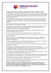 Sjekkliste elektrisk anlegg