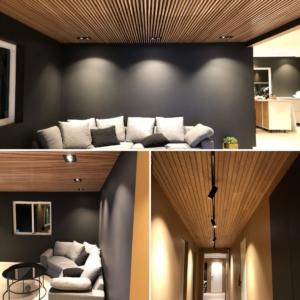 Kollasj av downlights og spotter innendørs i et moderne hus